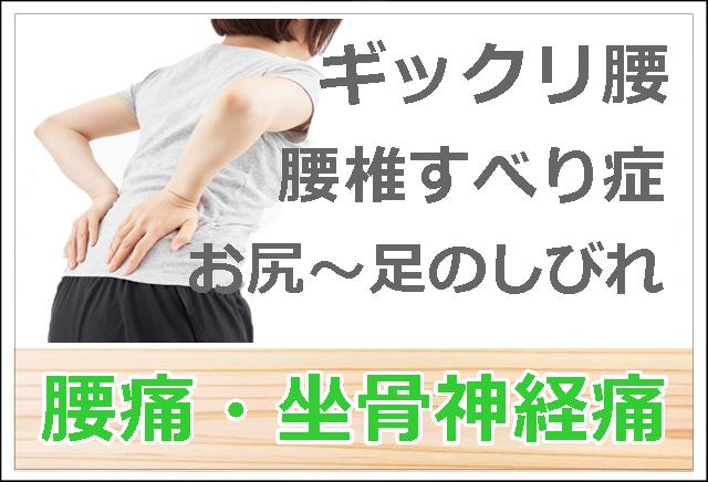 ギックリ腰 腰痛・腰椎すべり症 坐骨神経痛 お尻~足のシビレ